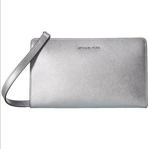 NWT jet set travel silver clutch/ large crossbody
